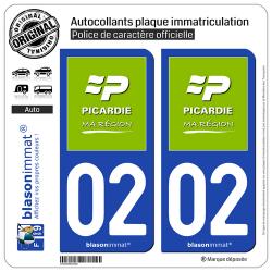 2 Autocollants plaque immatriculation Auto 02 Picardie - Ma Région