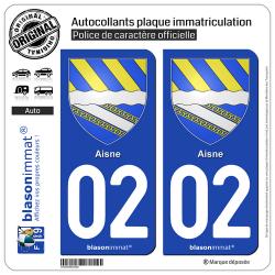 2 Autocollants plaque immatriculation Auto 02 Aisne - Armoiries