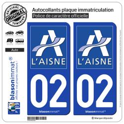 2 Autocollants plaque immatriculation Auto 02 Aisne - Département