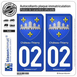 2 Autocollants plaque immatriculation Auto 02 Château-Thierry - Armoiries