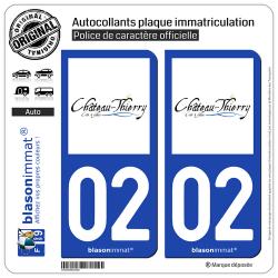 2 Autocollants plaque immatriculation Auto 02 Château-Thierry - Ville