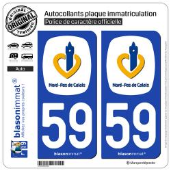 2 Autocollants plaque immatriculation Auto 59 Nord-Pas de Calais - Région
