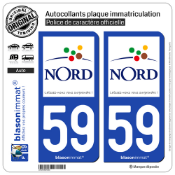 2 Autocollants plaque immatriculation Auto 59 Nord - Tourisme