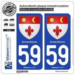 2 Autocollants plaque immatriculation Auto 59 Armentières - Armoiries