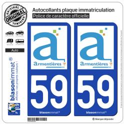 2 Autocollants plaque immatriculation Auto 59 Armentières - Ville
