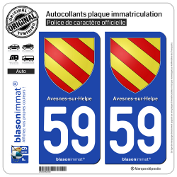 2 Autocollants plaque immatriculation Auto 59 Avesnes-sur-Helpe - Armoiries