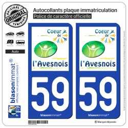 2 Autocollants plaque immatriculation Auto 59 Avesnes-sur-Helpe - Agglo