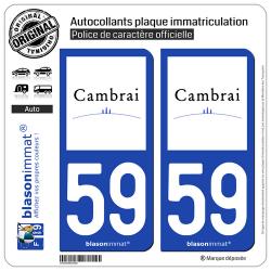 2 Autocollants plaque immatriculation Auto 59 Cambrai - Ville
