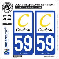 2 Autocollants plaque immatriculation Auto 59 Cambrai - Agglo