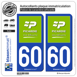 2 Autocollants plaque immatriculation Auto 60 Picardie - Ma Région