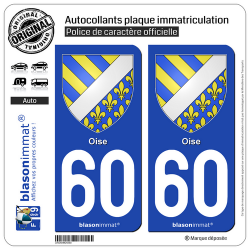2 Autocollants plaque immatriculation Auto 60 Oise - Armoiries