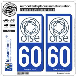 2 Autocollants plaque immatriculation Auto 60 Oise - Département