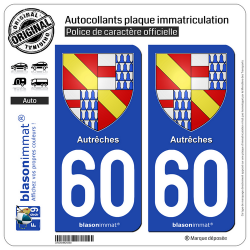 2 Autocollants plaque immatriculation Auto 60 Autrêches - Armoiries