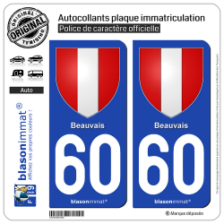 2 Autocollants plaque immatriculation Auto 60 Beauvais - Armoiries