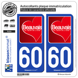 2 Autocollants plaque immatriculation Auto 60 Beauvais - Ville