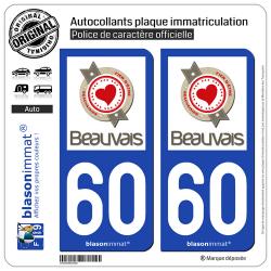2 Autocollants plaque immatriculation Auto 60 Beauvais - Beauvaisien