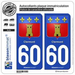2 Autocollants plaque immatriculation Auto 60 Clermont - Armoiries