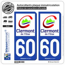 2 Autocollants plaque immatriculation Auto 60 Clermont - Ville