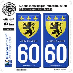 2 Autocollants plaque immatriculation Auto 60 Crépy-en-Valois - Armoiries