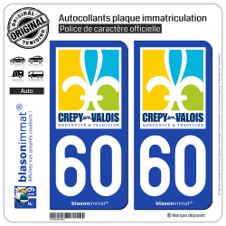 2 Autocollants plaque immatriculation Auto 60 Crépy-en-Valois - Ville