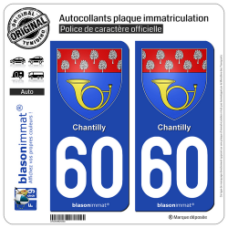 2 Autocollants plaque immatriculation Auto 60 Chantilly - Armoiries