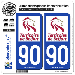2 Autocollants plaque immatriculation Auto 90 Territoire de Belfort - Département