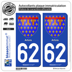 2 Autocollants plaque immatriculation Auto 62 Artois - Armoiries