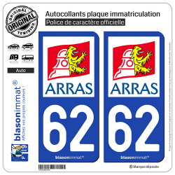2 Autocollants plaque immatriculation Auto 62 Arras - Ville