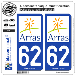 2 Autocollants plaque immatriculation Auto 62 Arras - Agglo