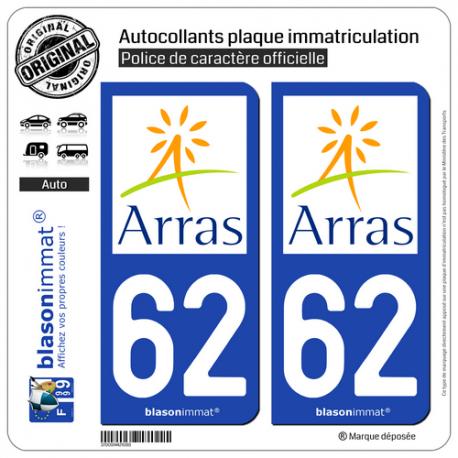 2 Autocollants plaque immatriculation Auto 62 Arras - Agglo