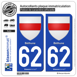 2 Autocollants plaque immatriculation Auto 62 Béthune - Armoiries