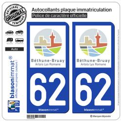 2 Autocollants plaque immatriculation Auto 62 Béthune - Agglo