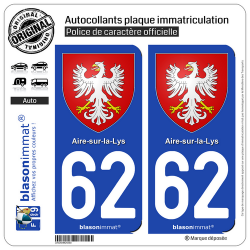 2 Autocollants plaque immatriculation Auto 62 Aire-sur-la-Lys - Armoiries