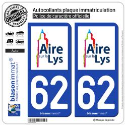 2 Autocollants plaque immatriculation Auto 62 Aire-sur-la-Lys - Ville