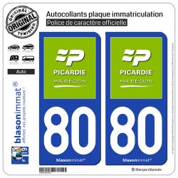 2 Autocollants plaque immatriculation Auto 80 Picardie - Ma Région