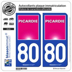 2 Autocollants plaque immatriculation Auto 80 Picardie - Tourisme