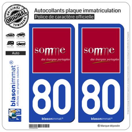 2 Autocollants plaque immatriculation Auto 80 Somme - Département