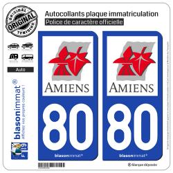 2 Autocollants plaque immatriculation Auto 80 Amiens - Ville