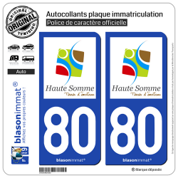 2 Autocollants plaque immatriculation Auto 80 Haute Somme - Terres