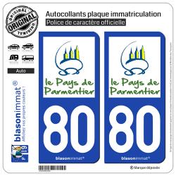 2 Autocollants plaque immatriculation Auto 80 Montdidier - Pays
