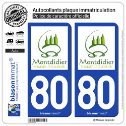2 Autocollants plaque immatriculation Auto 80 Montdidier - Tourisme