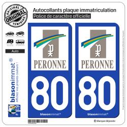 2 Autocollants plaque immatriculation Auto 80 Péronne - Ville
