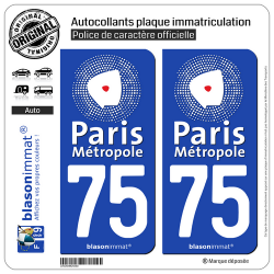 2 Autocollants plaque immatriculation Auto 75 Paris - Métropole