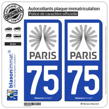 2 Autocollants plaque immatriculation Auto 75 Île-de-France - Tourisme