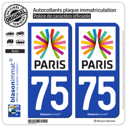 2 Autocollants plaque immatriculation Auto 75 Île-de-France - Paris Région