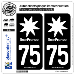 2 Autocollants plaque immatriculation Auto 75 Ile de France - LogoType Black