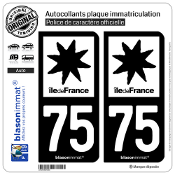 2 Autocollants plaque immatriculation Auto 75 Ile de France - LogoType N&B