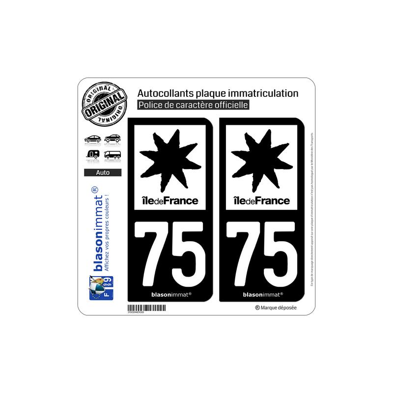 autocollant plaque immatriculation 75 le de france logotype n b. Black Bedroom Furniture Sets. Home Design Ideas