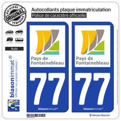 2 Autocollants plaque immatriculation Auto 77 Fontainebleau - Agglo