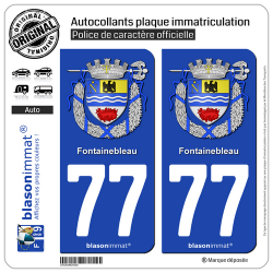 2 Autocollants plaque immatriculation Auto 77 Fontainebleau - Armoiries